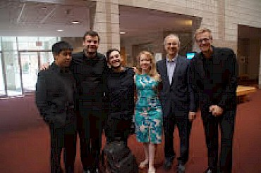 "With HUB New Music Ensemble after performance of ""A Way Separate"" at Zoellner Arts Center, Bethlehem, PA.  l-r: Zenas Hsu, David Dziordziel, Michael Avitabile, soprano Emily Thorner, LK, and Jesse Christesen"