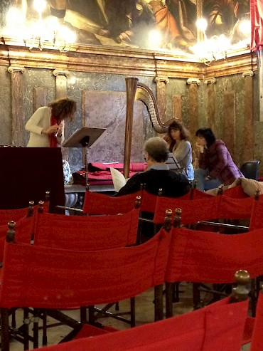 Rehearsal for premiere of _Quest_ at the Ateneo Veneto, Venice, Italy