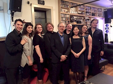 With Se-Hee Jin, Alex Tatarinov, and singers from the Eastman School of Music's Opera Department after performance of To The Stars at Spectrum, NYC.  L. to R.:  Nate McEwen, Natalie Buickians, Keely Futterer, Alan Cline, Karchin, Fred Diengott, Se-Hee Jin, Sarah Bertrand, and Alex Tatarinov