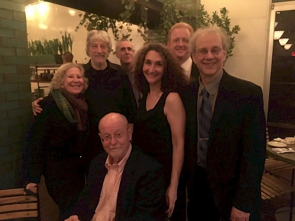 Celebration after a birthday concert for composer Charles Wuorinen, where Mr. Karchin delivered an 80th birthday tribute.  A rare gathering of some of New York