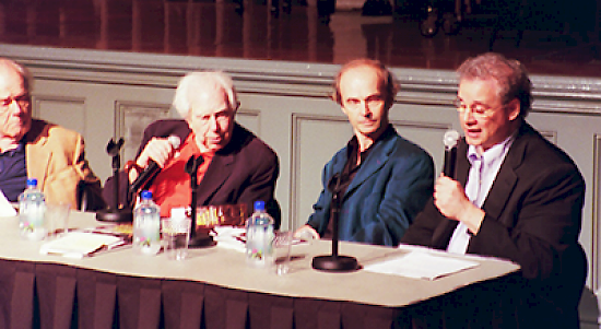 L to R: Pianist Charles Rosen, composer Elliott Carter, pianist Marc Ponthus, and Karchin.