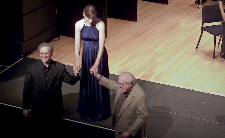 With composer Elliott Carter and soprano Kate Lindsey