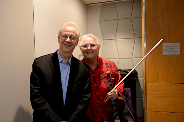 Violist Lois Martin and the composer after performance of Excursions at the opening of the new Avery Fisher Media Center at New York University.