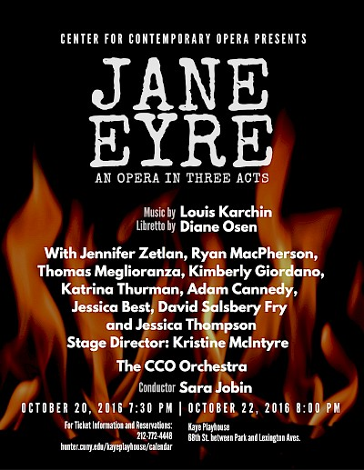 poster for the premier eof the opera Jane Eyre