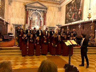 Corale Caminese after the premiere of Hymns from the Dark, Chiesa di San Trovasco, Venice
