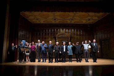 The nine pianists and four composers of Barry Snyder's Alumni Recital and Retirement Celebration