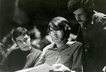 Pianist Joseph Werner (l) who premiered Fantasy II, with Robert Lumpkin, and the composer ((r), Eastman School of Music, 1972